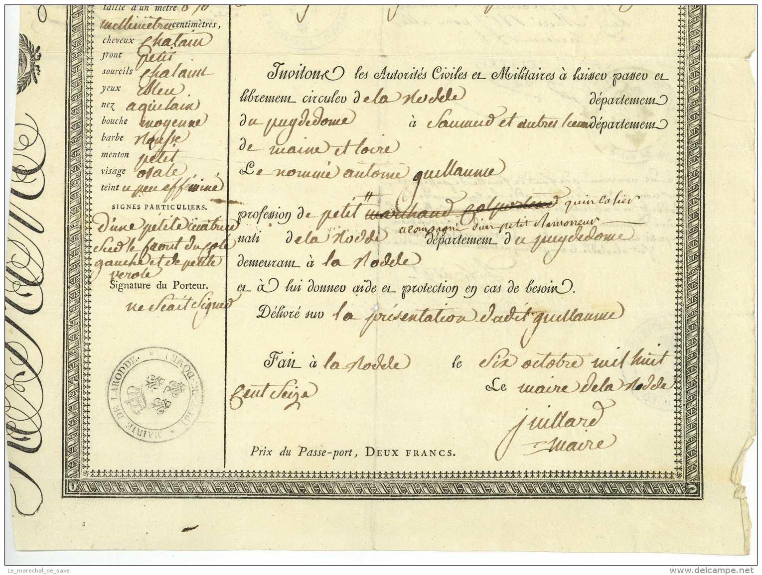 PASSEPORT – DEPT. DU PUY-DE-DOME – 1816 LA RODDE Cholet Issoire Saumur Juillard Issoire - Documents Historiques