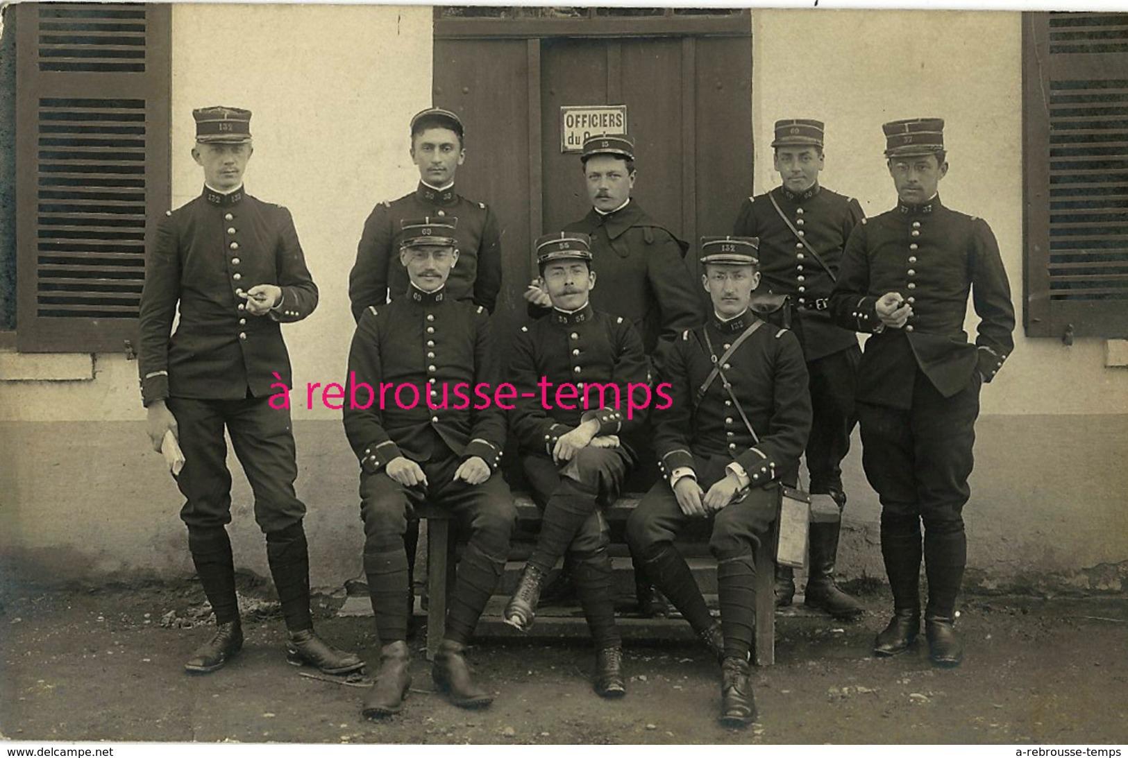 Carte Photo à Valbonne-officiers 132e, 30e, 69e, 55e, 15e, 60e, 37e Régiments-photographe  J. Blanc à Lyon - Guerre, Militaire