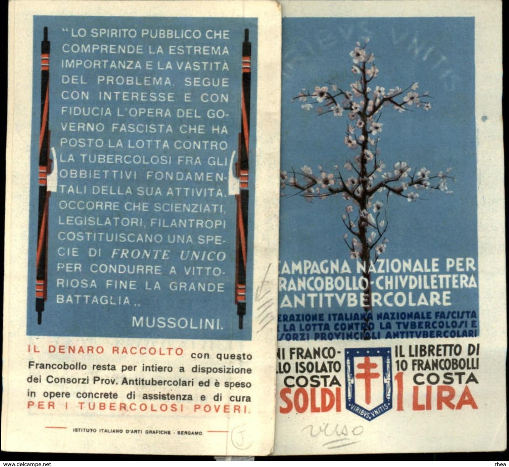 SANTE - Carnet Complet - Timbres Antiberculeux - ITALIE - Mussolini - Tuberculose - Italie