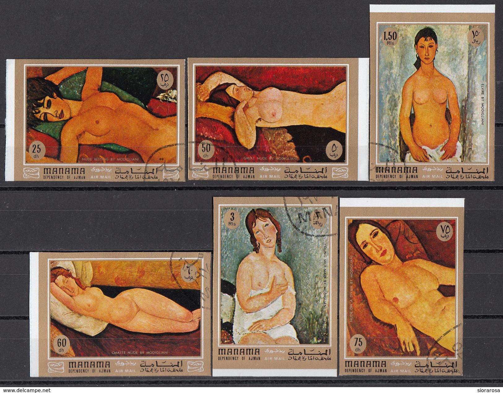 425 Manama 1971 Quadri Dipinti Da A. Modigliani Full Set Non Dentellato Paintings Tableaux - Nudes