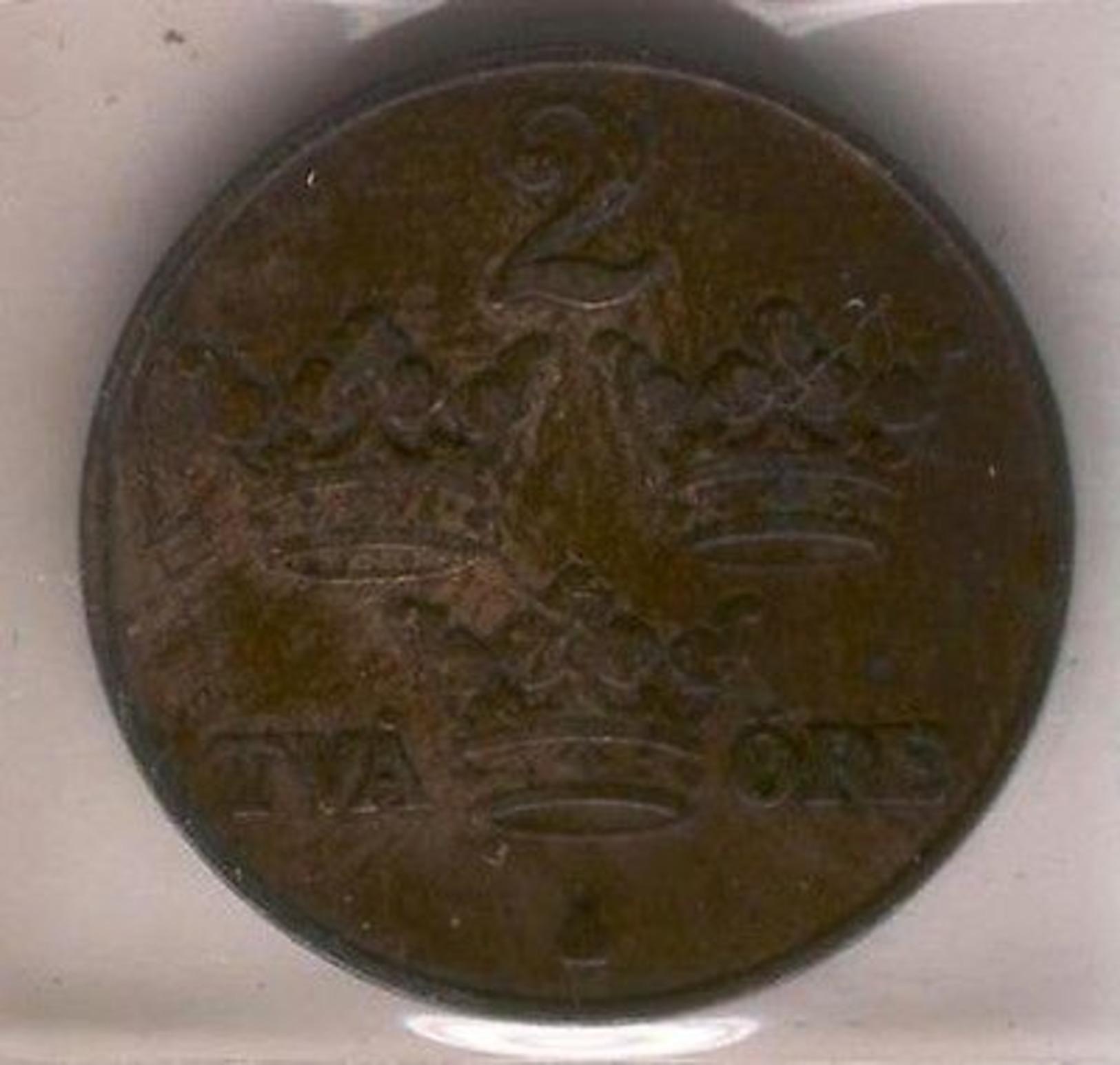 Coin 184 Sweden 1916 Value 2 Ore Ancient - Suède