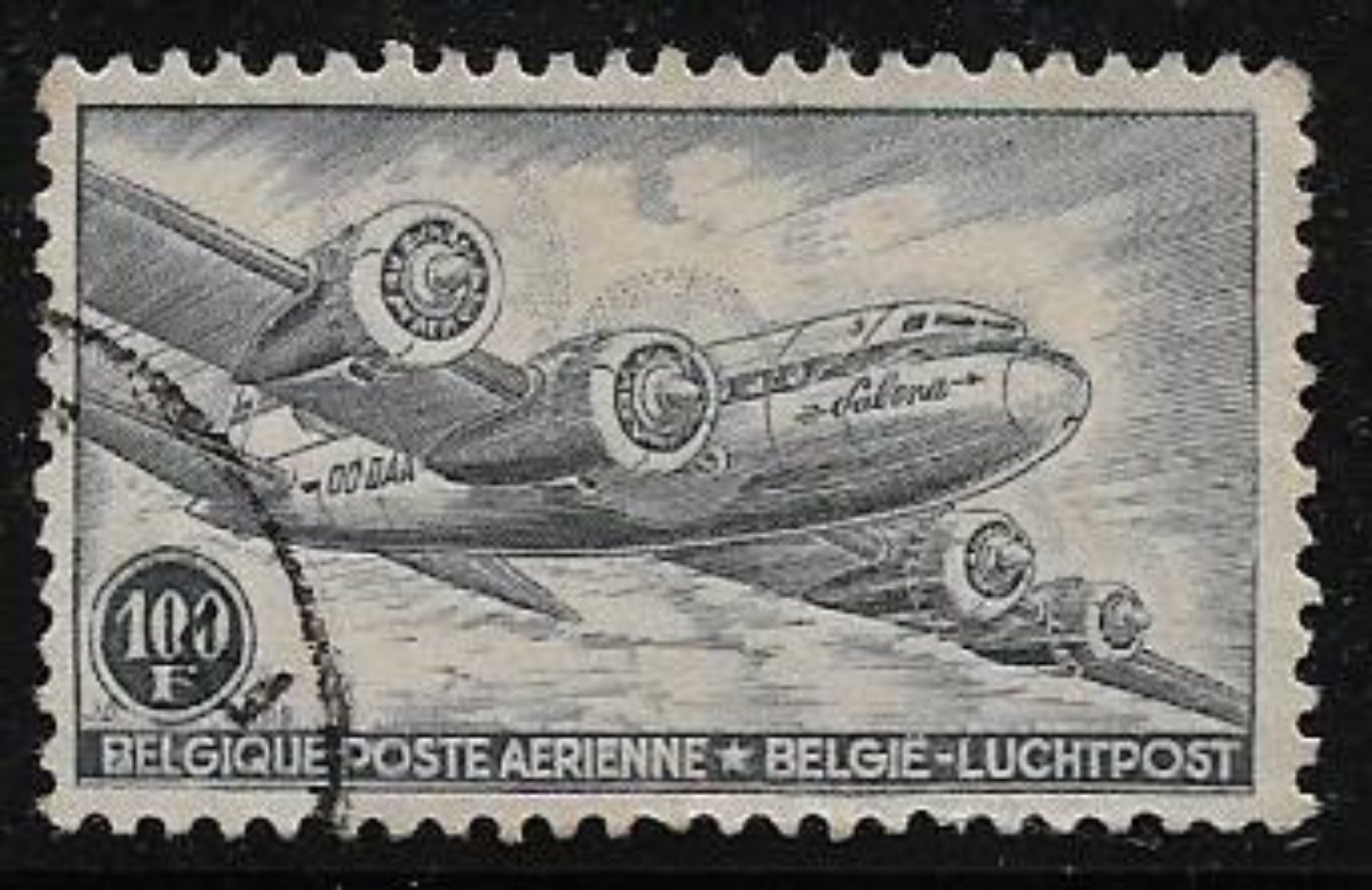 Belgium Luchtpost Airmail Airplane Aviation Used Stamp # AR:110 - Airmail