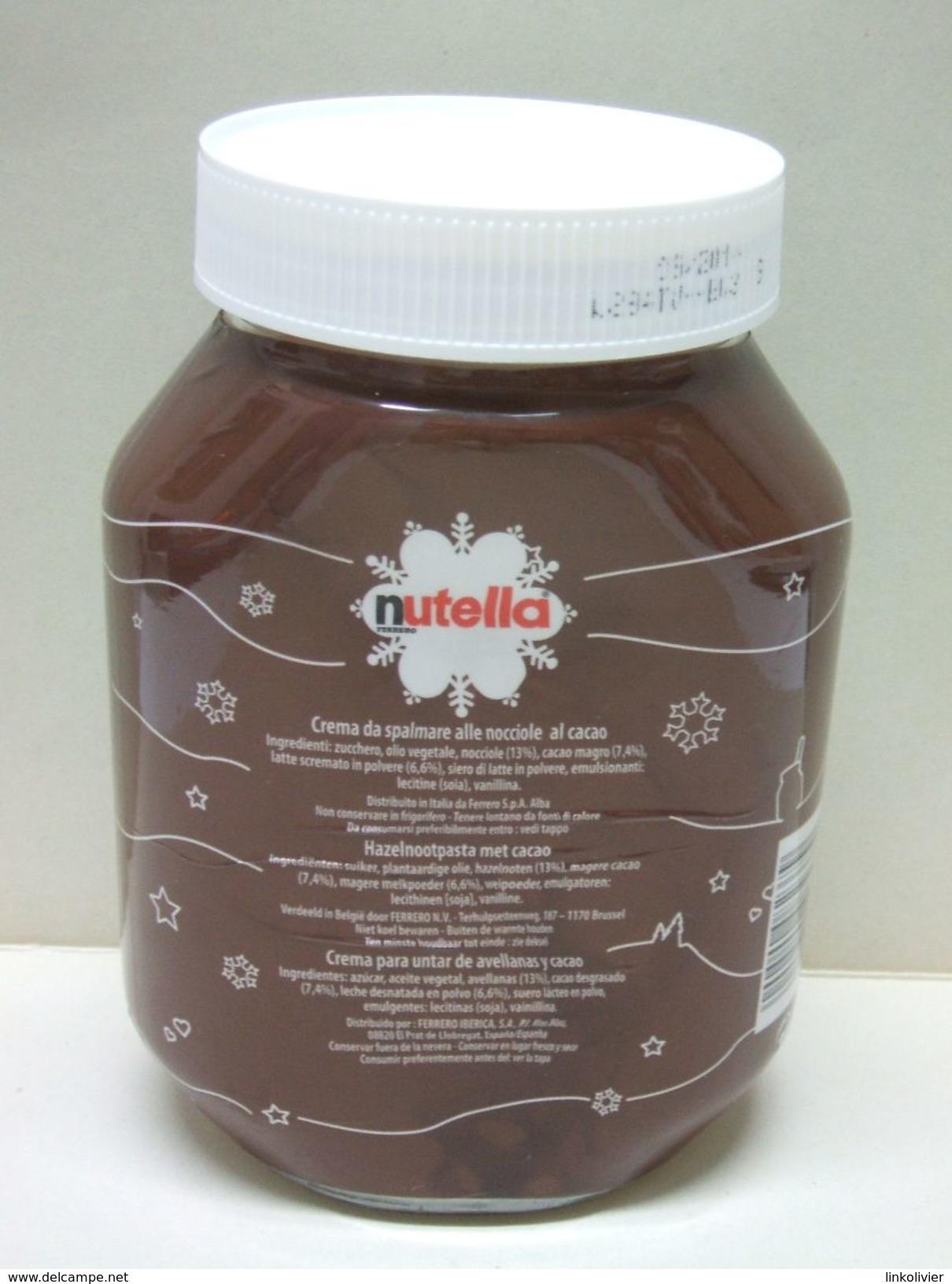 """Pot De NUTELLA Bocal Vide - """"Après Une Bataille De Boules De Neige"""" - Noël Hiver Cristaux Cristal - Nutella"""