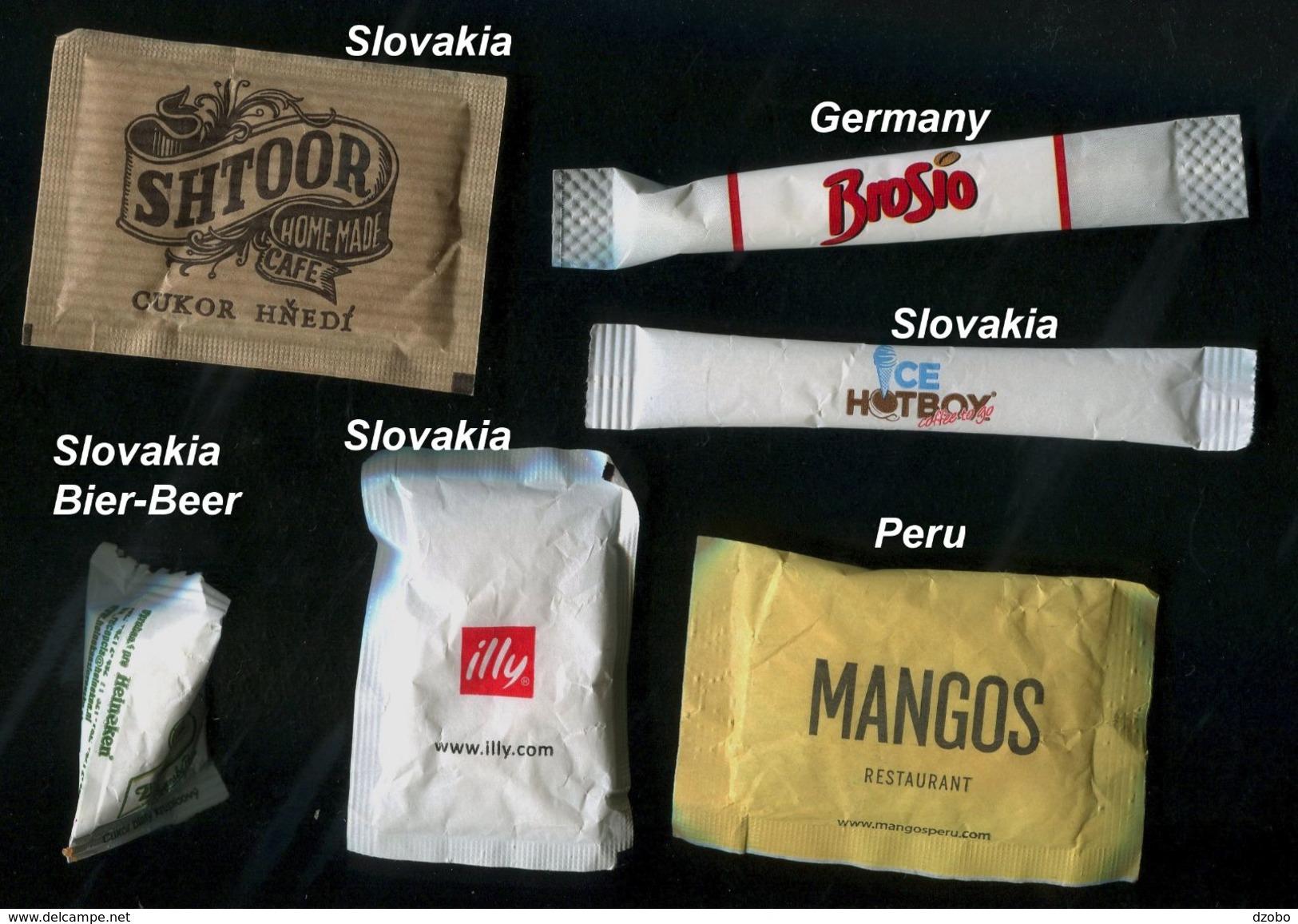 34 PARTIA-Lot MIX (Slovakia+beer, Germany, Peru) Sugar-Zucker-Sucre-Azucar 6 Pcs Mint - Sucres