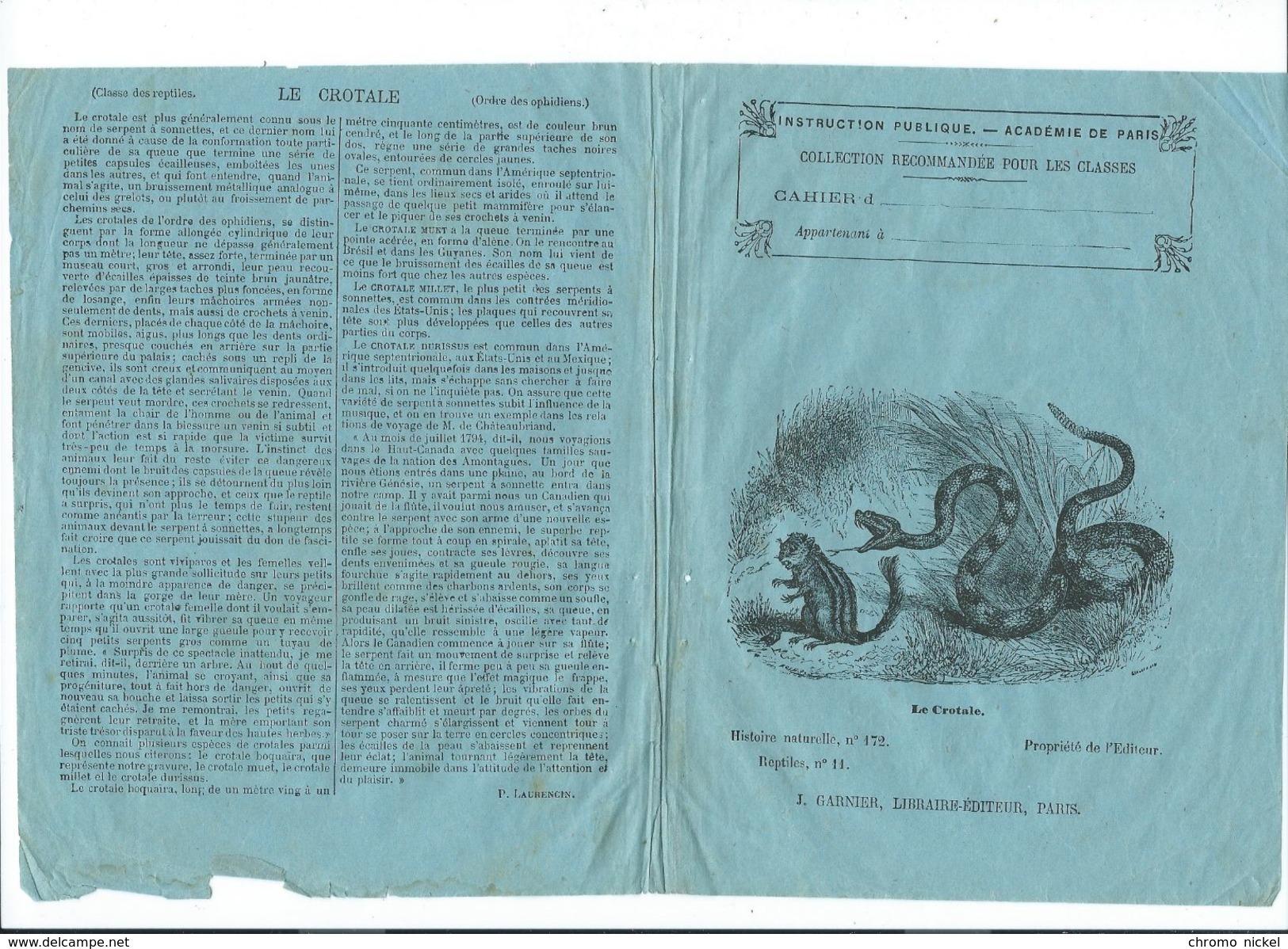 Le Crotale Serpents Peptiles Protège-cahier Couverture 195 X 150 Mm  Etat Passable Mais RR. - Bambini