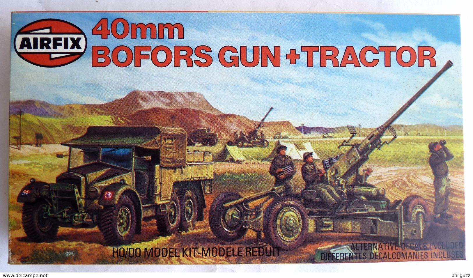 RARE MAQUETTE AIRFIX BOITE BOFORS GUN & TRACTOR 1981 FIGURINE WWII - Figurines