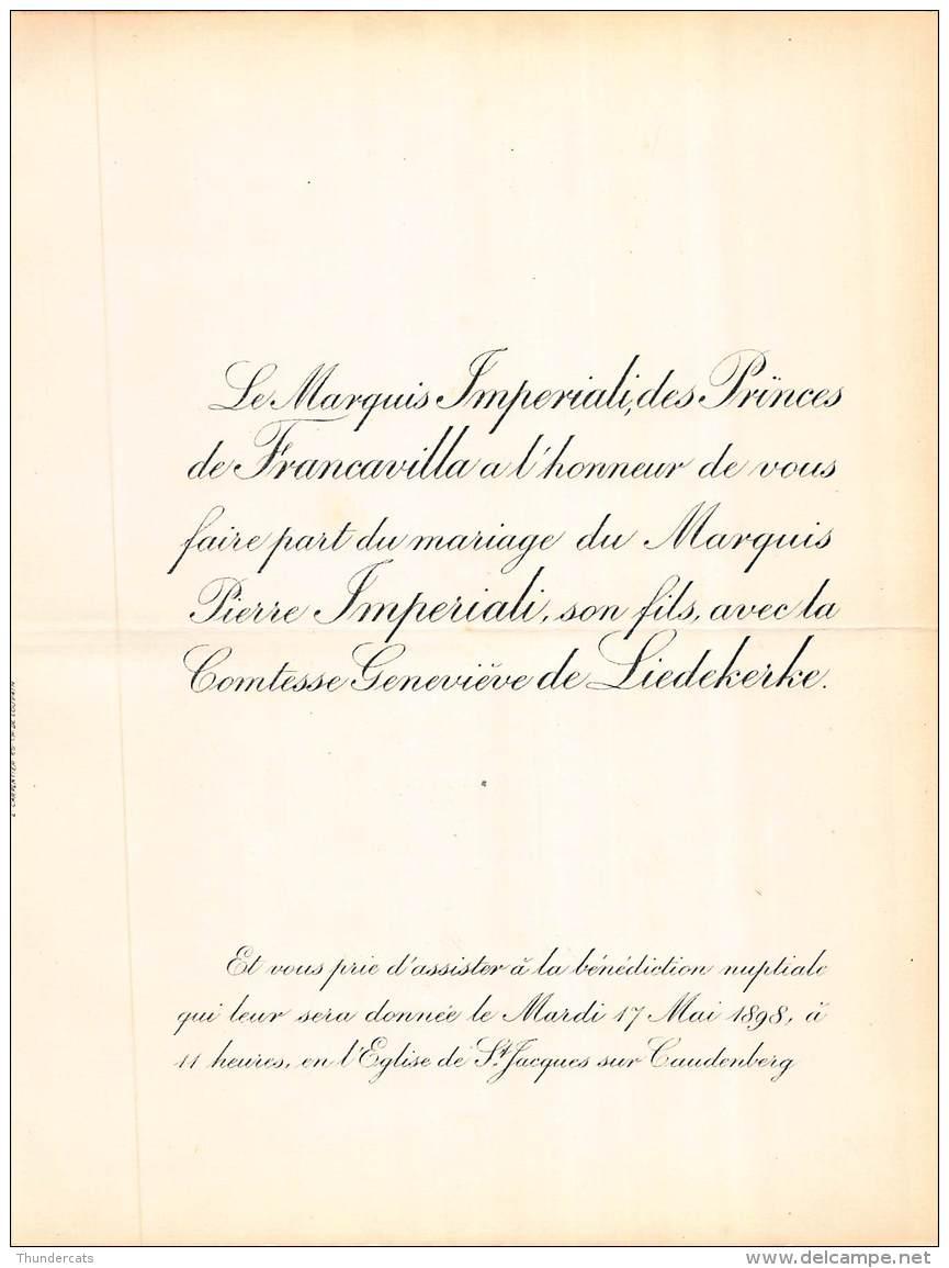 FAIRE PART MARIAGE  MARQUIS IMPERIALI DES PRINCES DE FRANCAVILLA PIERRE COMTESSE GENEVIEVE DE LIEDEKERKE - Mariage