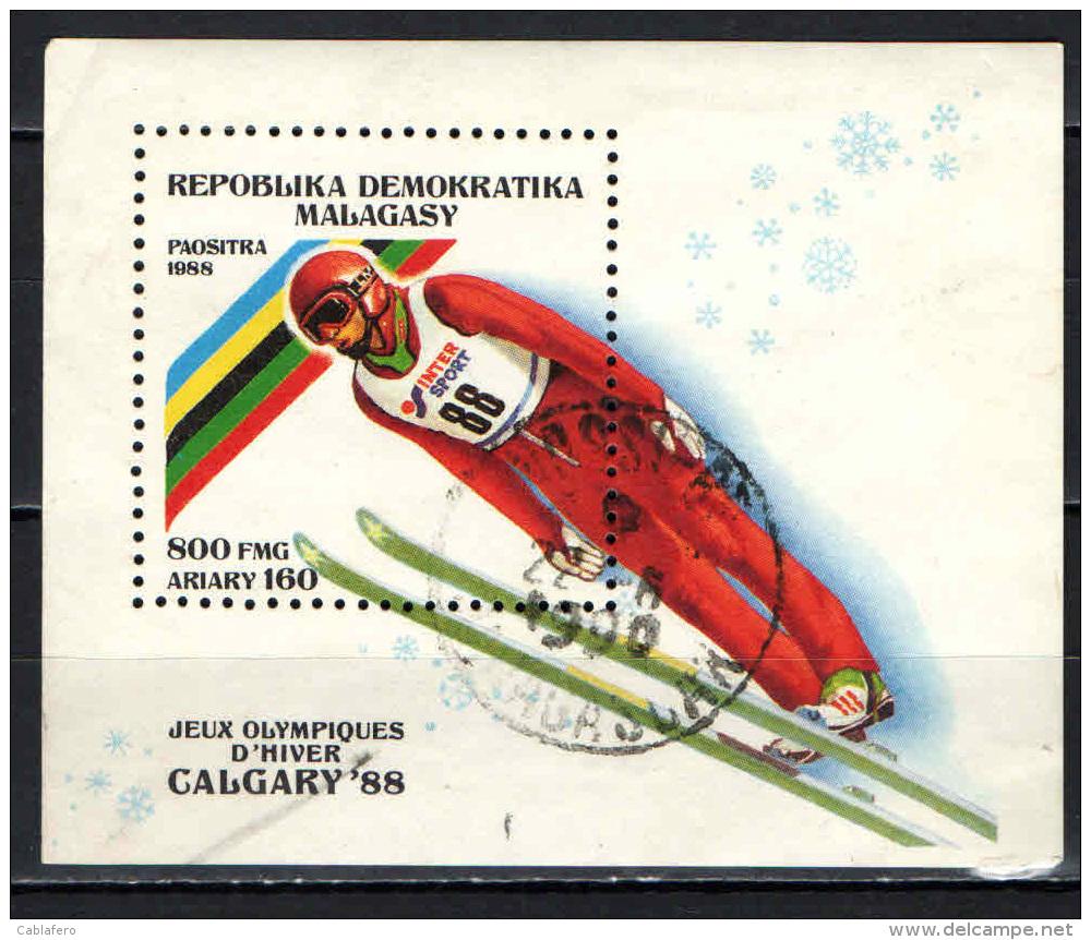 MADAGASCAR - 1988 - OLIMPIADI INVERNALI DI CALGARY - SOUVENIR SHEET - USATO - Madagascar (1960-...)