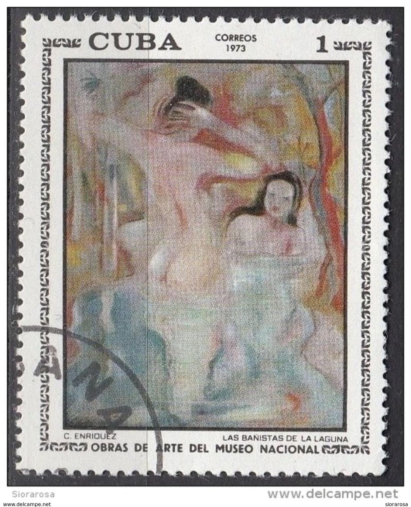 "1773 Cuba 1973 "" Le Bagnanti Della Laguna "" Quadro Dipinto Da C. Enriquez Paintings Tableaux Preobliterato - Nudes"
