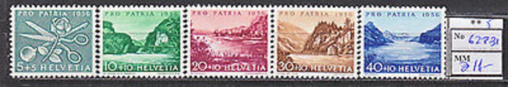 MTA0238.Switzerland 1956 MNH 5v CV 11 Eur Nature Roses - Planten