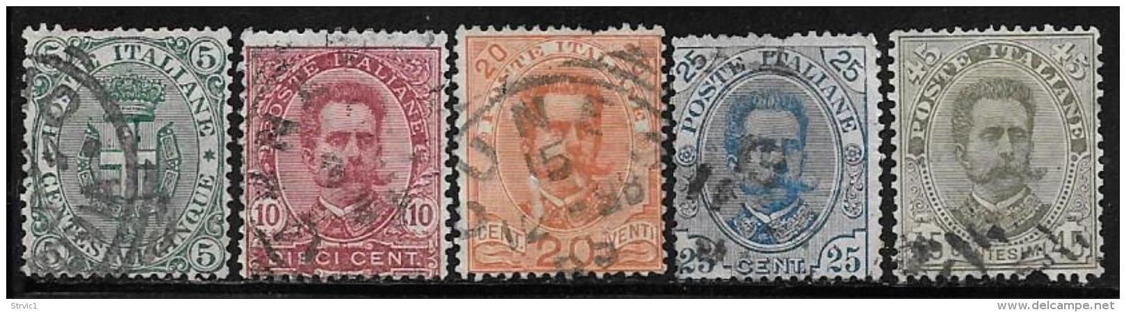 Italy, Scott # 67-71 Used Humbert L,  1891-6,  Average Condition, Few Short Perfs - Used