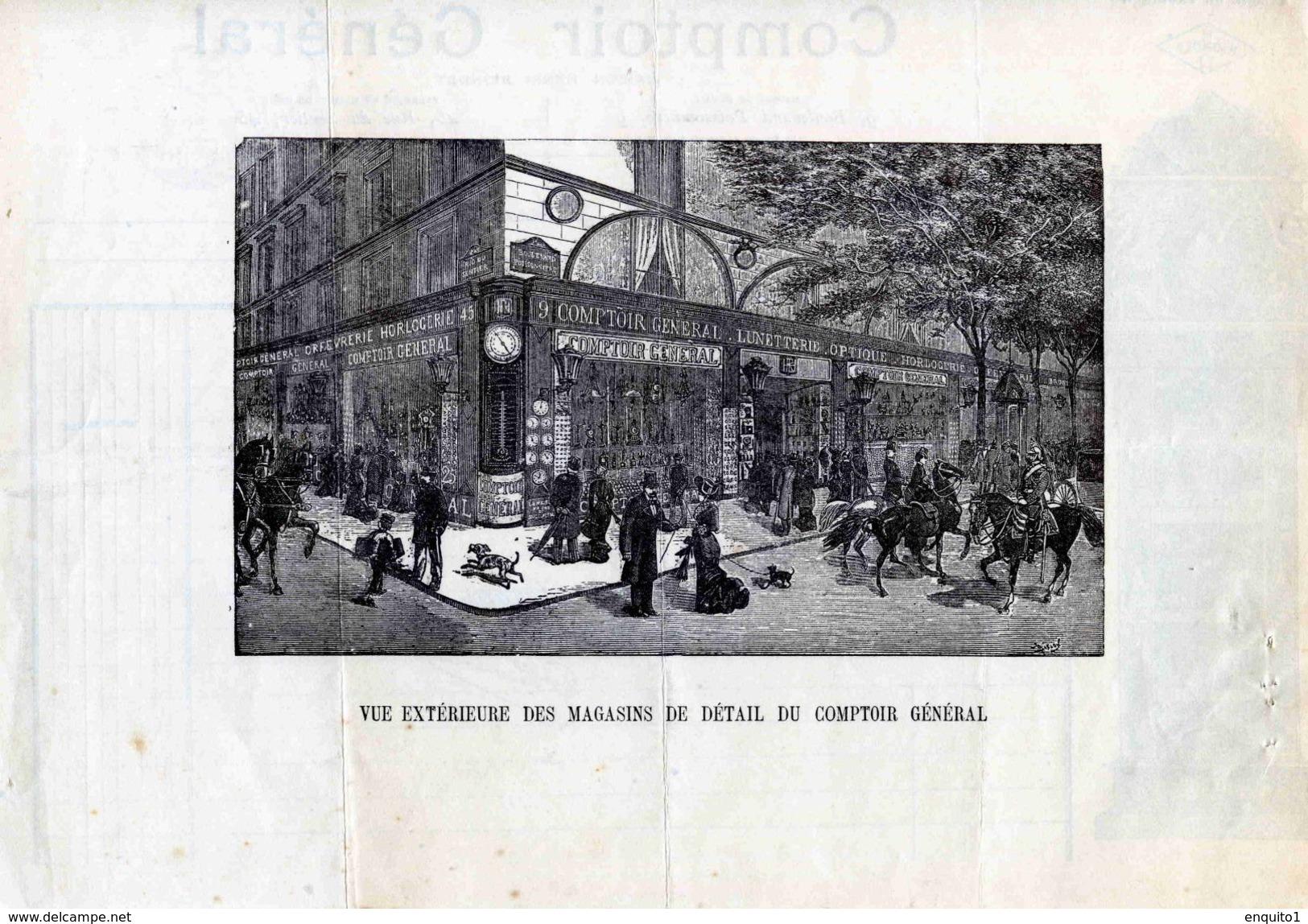 """""""Comptoir Général"""", Maison RIONDET,  Orfèvrerie, Bijouterie, 9 Bld Poissionnière Et Rue Du Sentier, PARIS, 1898 - Bijoux & Horlogerie"""