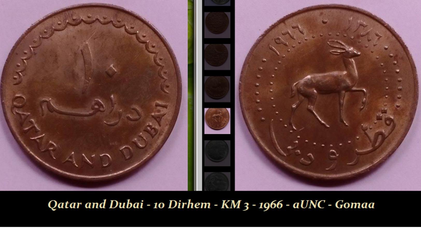 Qatar And Dubai - 10 Dirhem - KM 3 - 1966 - AUNC - Gomaa - Emirats Arabes Unis