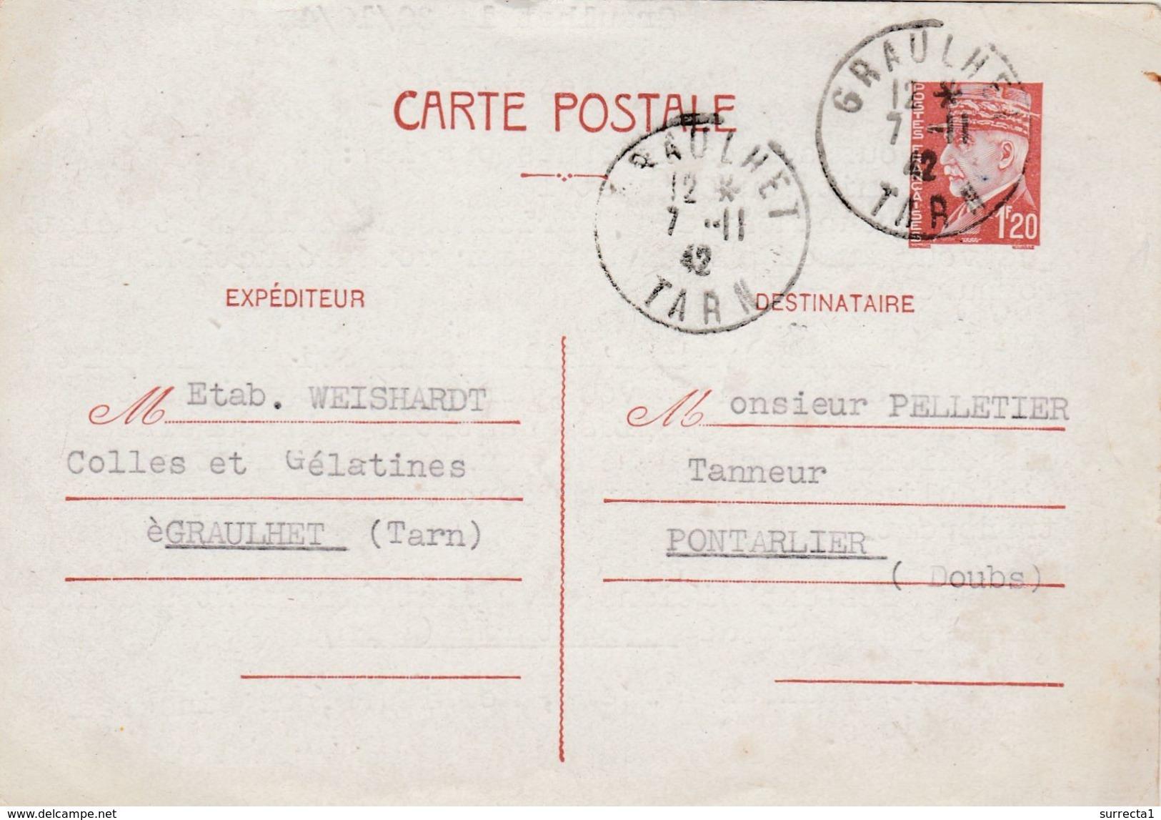 Carte Commerciale 1942 / Entier Pétain 1 F 20 / Ets WEISHARDT / Colles Et Gélatoines / 81 Graulhet  Tarn - Cartes
