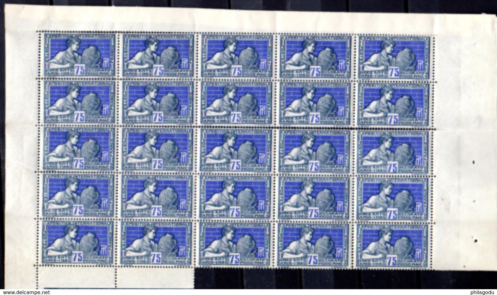 1924-25  Exposition Des Arts Décoratifs, 25 X  210 / 215**, Cote 1500 €, - Feuilles Complètes
