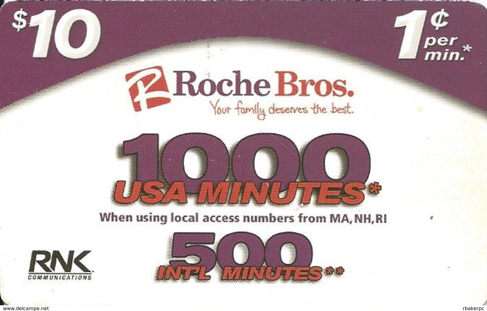 Roche Bros. Paper Prepaid Calling Card - United States