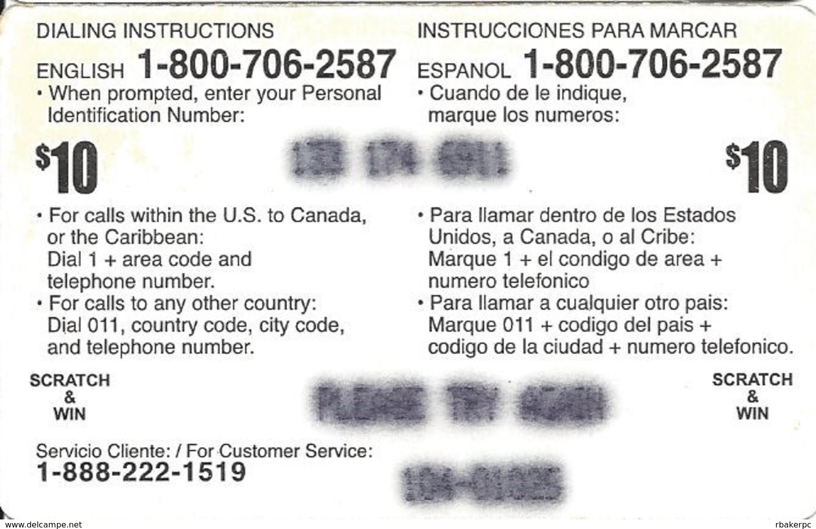 USA No Conection Fee Paper Prepaid Phonecard - United States