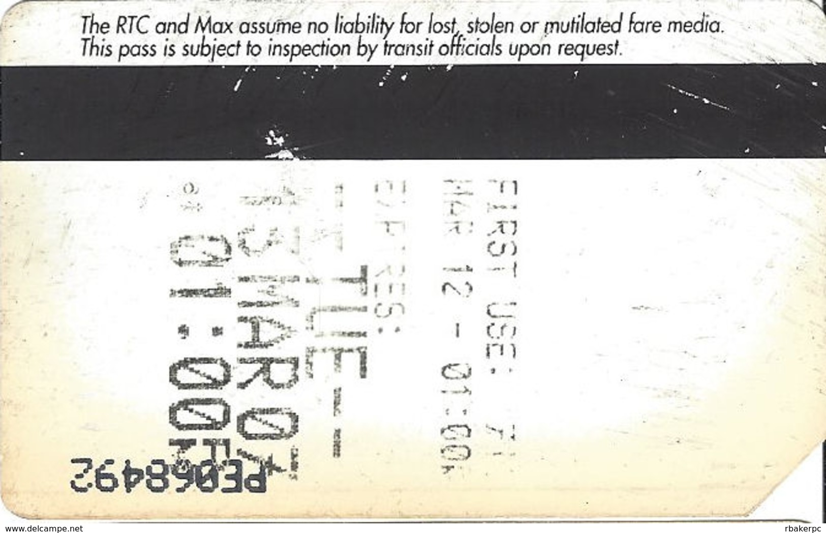 Paper CAT MAX One Day Pass Ticket - 65mm Wide Text Over Mag Stripe - Transportation Tickets