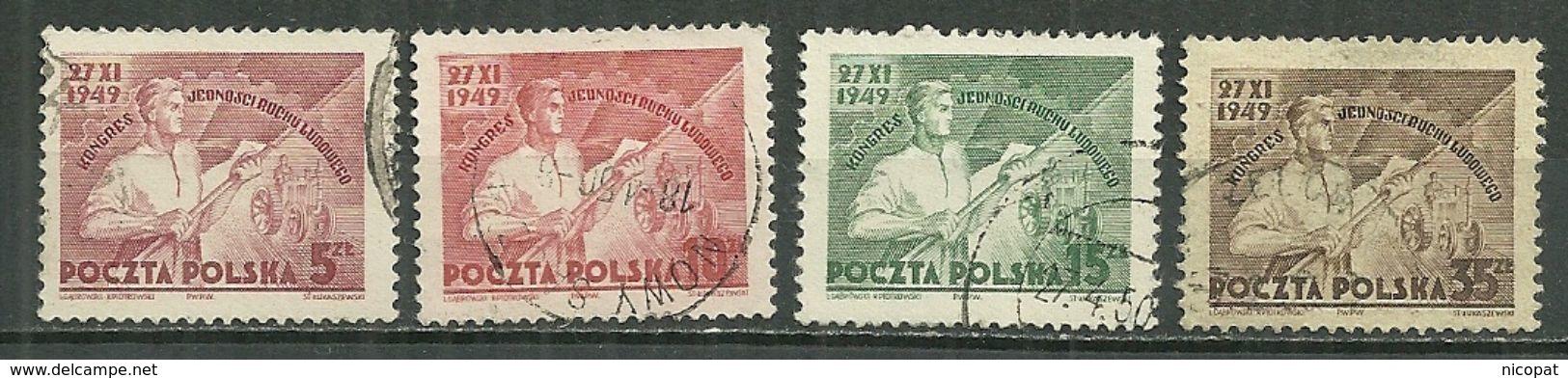 POLAND Oblitéré 557-560 Congrès De L´union Du Mouvement Populaire - Oblitérés