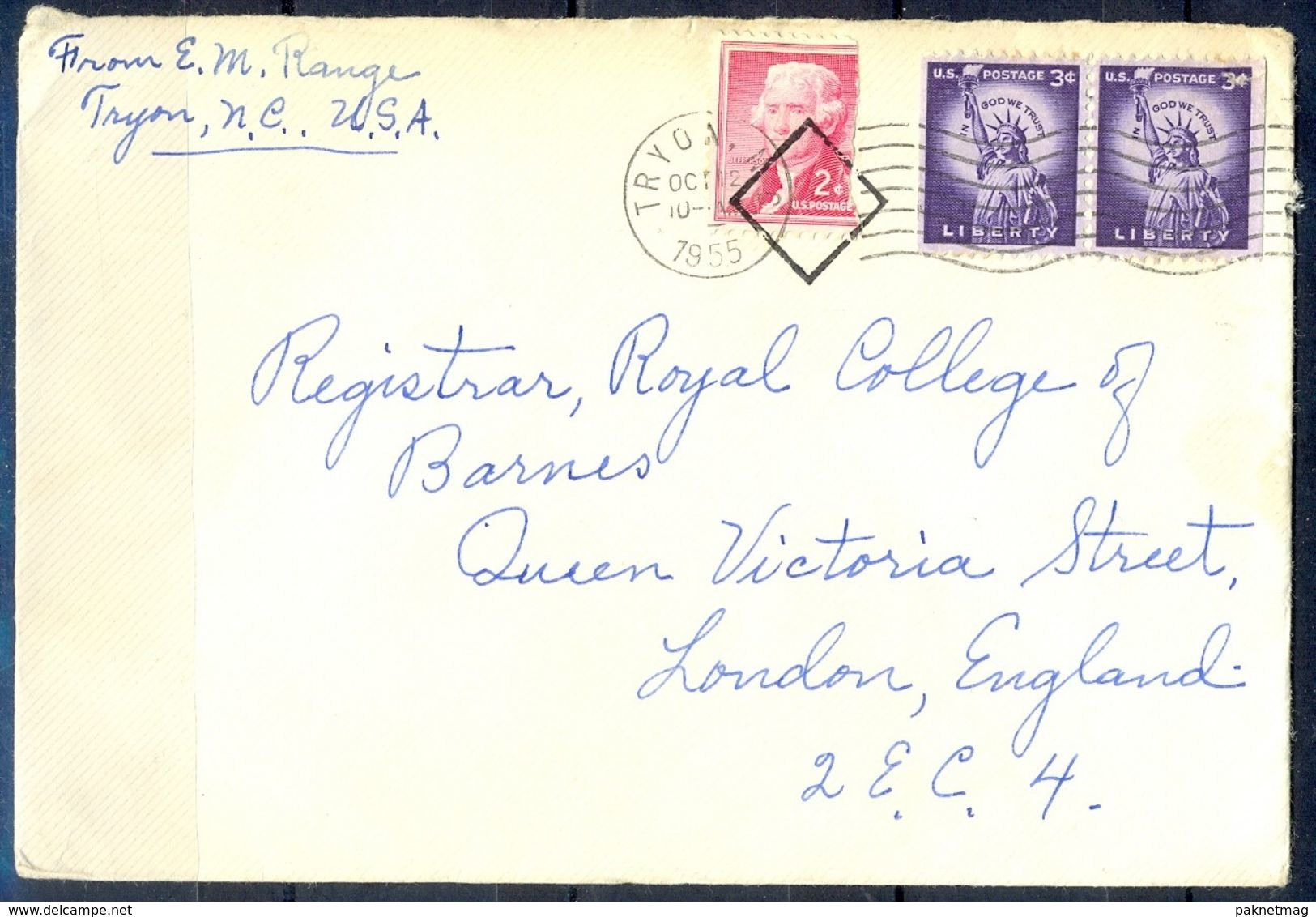 G306- USA United States Postal History Cover. Post To U.K. England. Liberty. - United States
