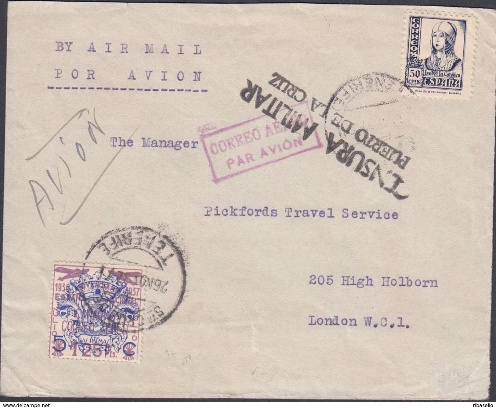 España 1937. Canarias. Carta De Tenerife Puerto De La Cruz A Londres. Censura. - Marcas De Censura Nacional