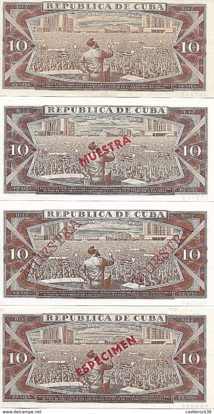 C) CUBA-CARIBE BANK NOTES SPECIMEN 10 PESOS 1968 TO 1987 - Cuba