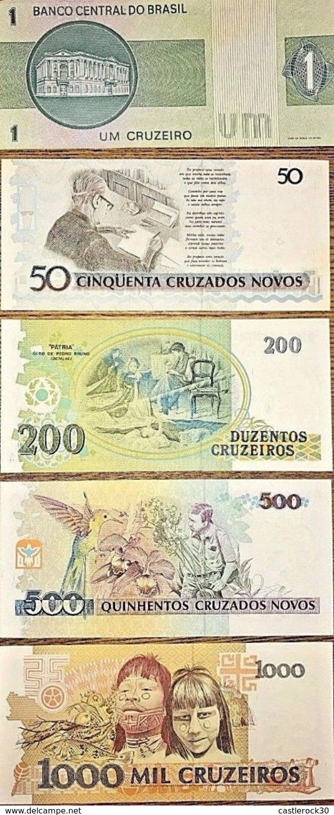 C) BRAZIL BANK NOTES CRUZEIROS 5PC (1+50+200+500+1000) UNC NEW - Brésil