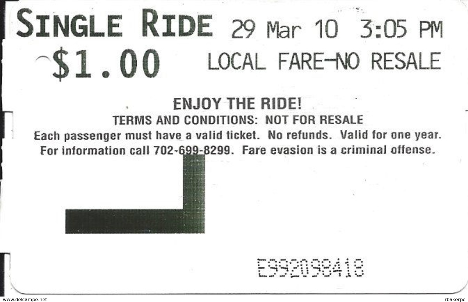 Paper Las Vegas, NV Monorail Ticket - Single Ride - Large SINGLE Text (2 Scans) - Transportation Tickets