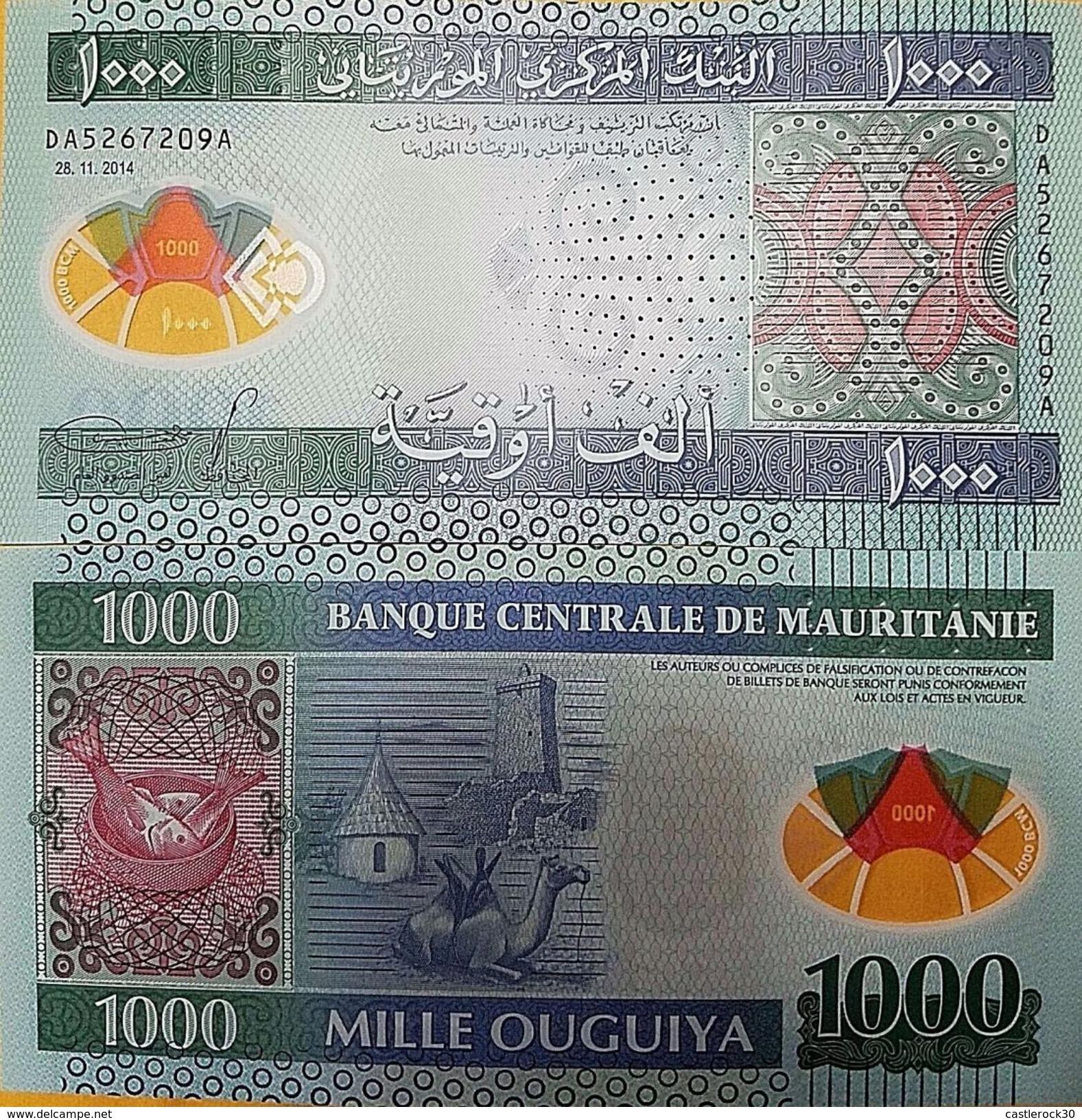 C) MAURITANIA BANK NOTES 1000 Ouguiya Polymer Money 2014 UNC NEW - Mauritania