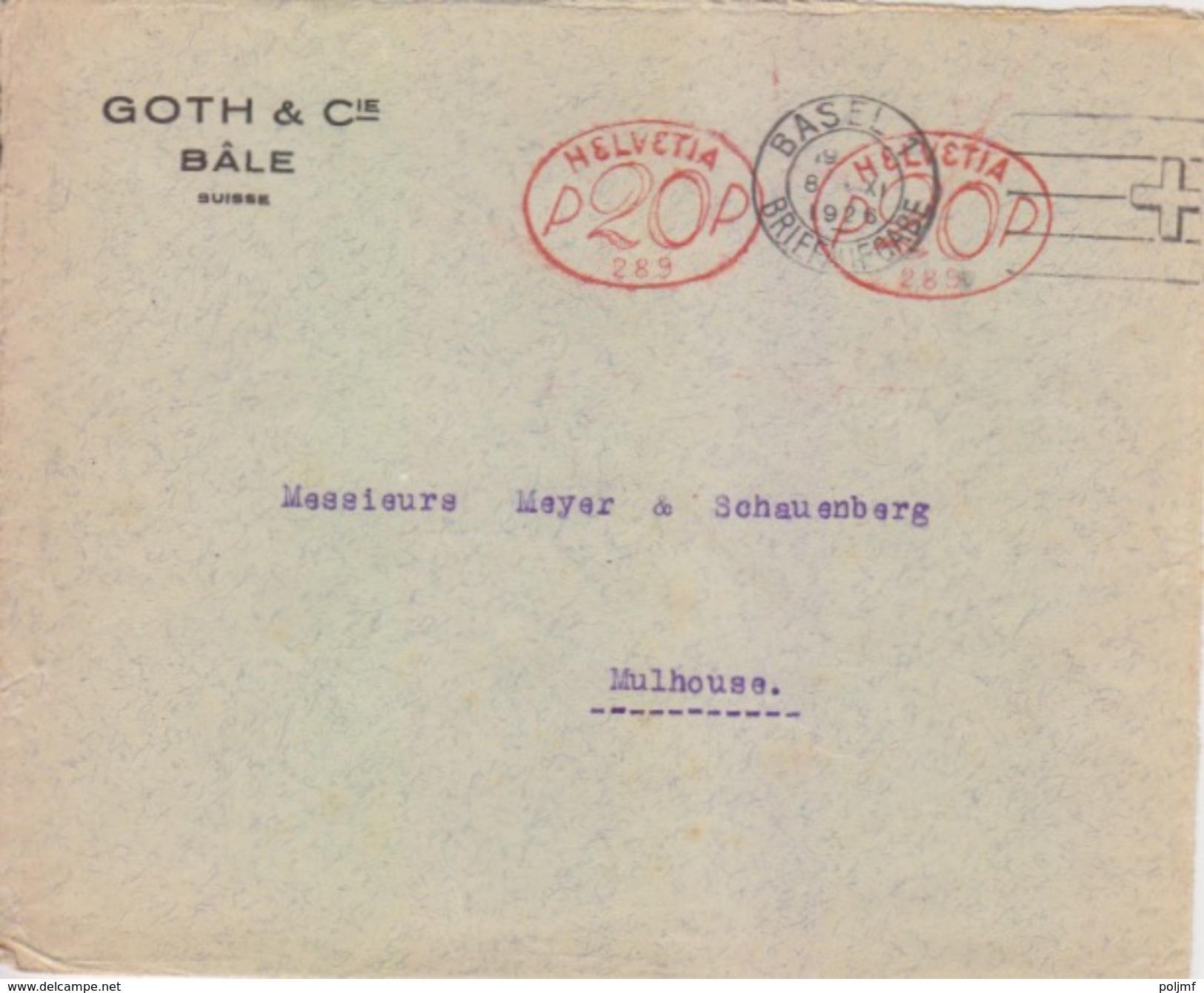 EMA Suisse 20 X 2 (289 Sté GOTH), Lettre De Bâle (flamme Croix Rouge) Le 8 XI 1926 Pour Mulhouse - Postage Meters