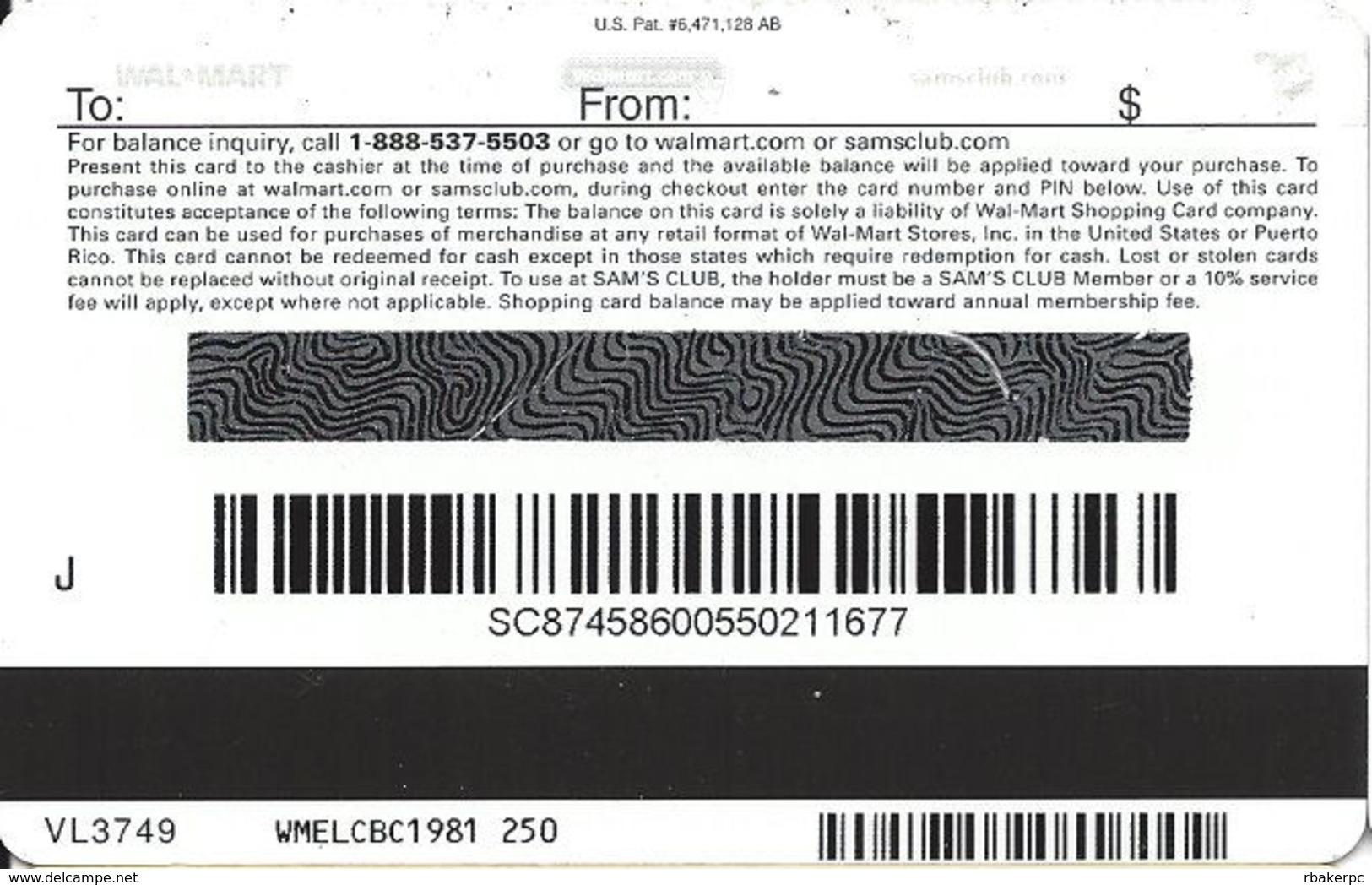 Walmart Gift Card - Metallic Silver Mirror Finish - Gift Cards