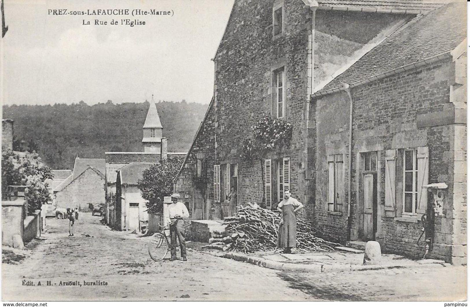 52 PREZ SOUS LAFAUCHE - LLa Rue De L'église - Animée - France
