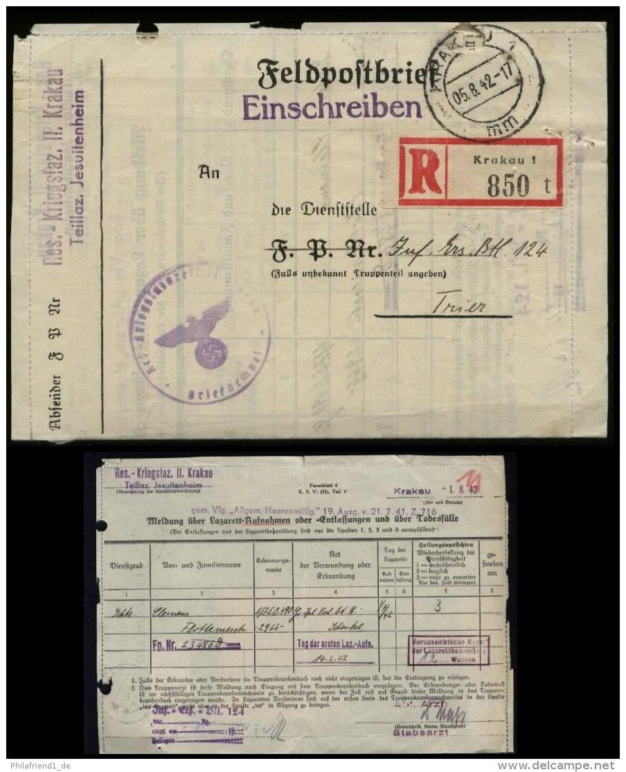WW II DR GG Polen , R - Feldpost Militär Lazarett Meldung: Gebraucht Krakau - Trier 1942 , Bedarfserhaltung. - Briefe U. Dokumente