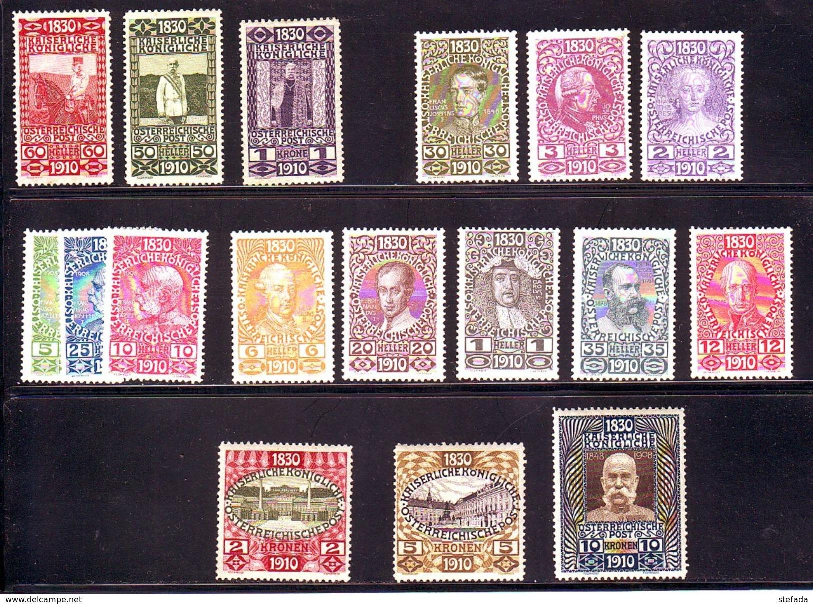 AUSTRIA AUTRICHE AUSTRIAN 1910  80° Compleanno FRANCESCO GIUSEPPE  17 Valori Alti MNH** - 1850-1918 Imperium