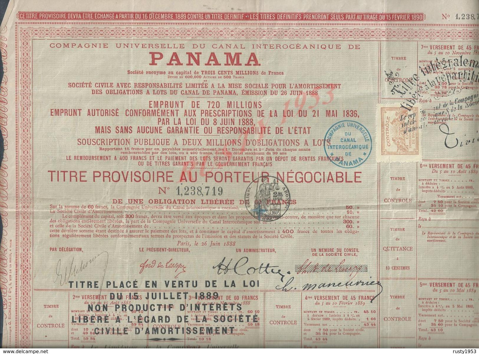 ANCIENNE ACTION DU PANAMA 1889 PETITE DECHIRURE : - Actions & Titres