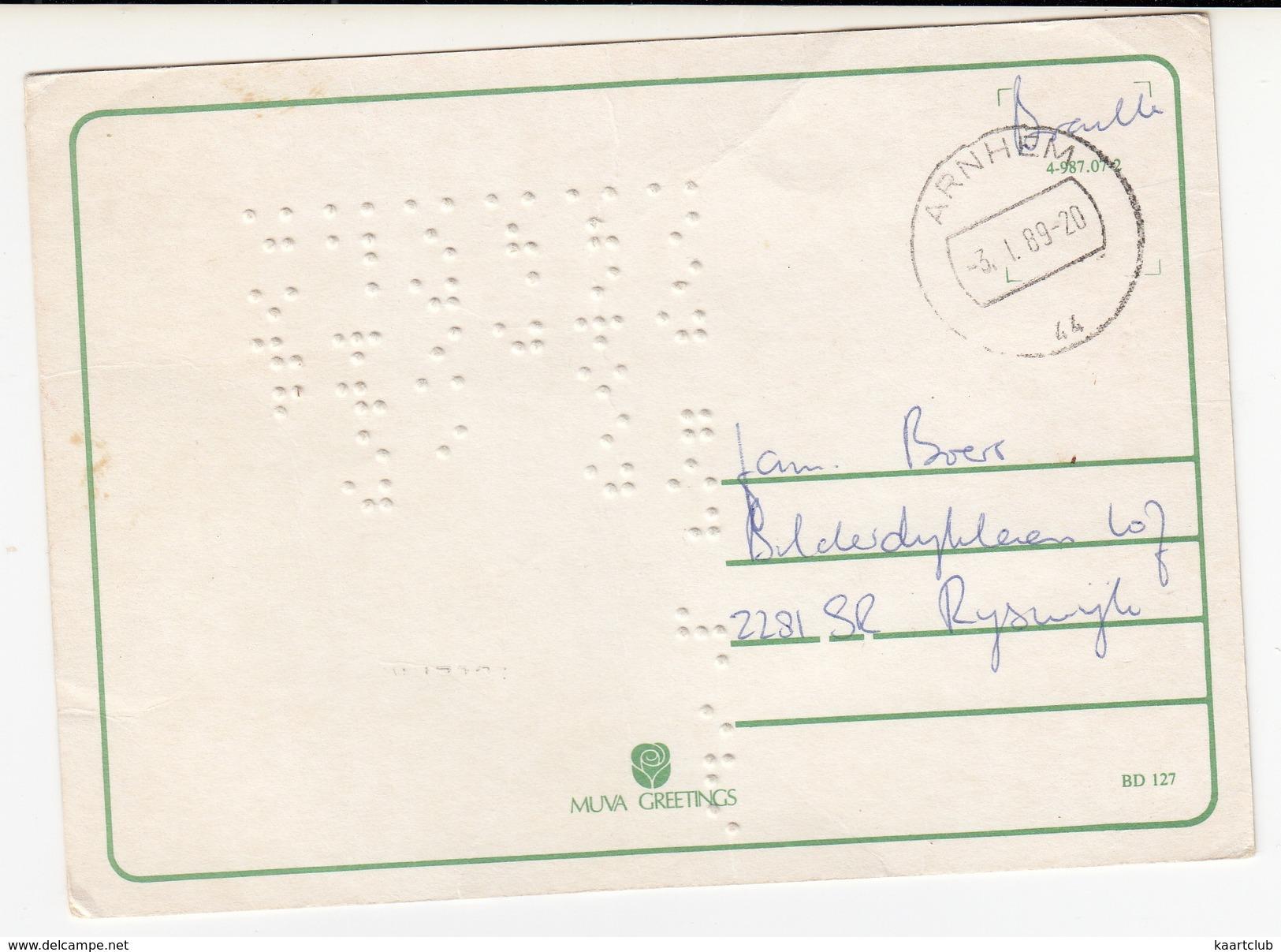 Nieuwjaarskaart Met Braille Schrift - 'Gelukkig Nieuwjaar' -1989- (Holland) - BRAIILE - Nieuwjaar