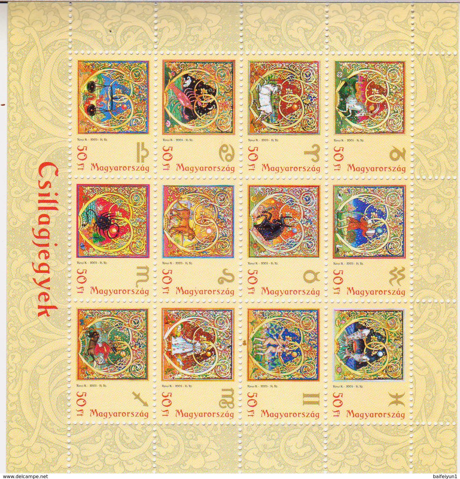 2005 HUNGARY Zodiac Sheetlet - Astrology