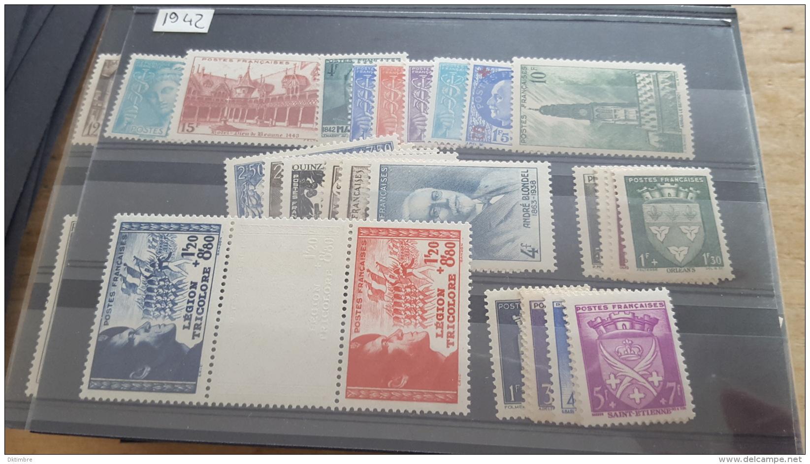LOT 362803 TIMBRE DE FRANCE NEUF** ANNEE 1942 DEPART A 1€ - France
