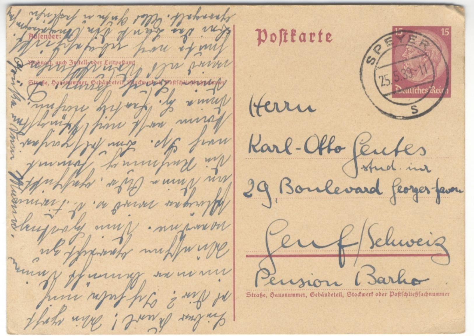 G19 DR Ganzsache Postkarte P 227 Hindenburg 1939 15 Pf. Ausland Schweiz Handstempel Speyer S N. Genf - Germany