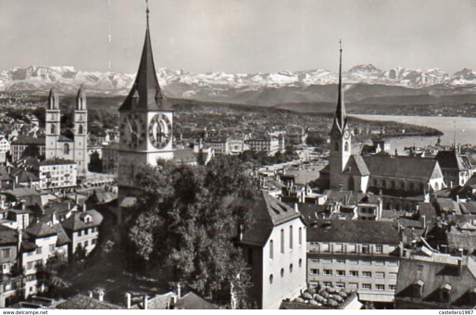 ZÜRICH - Grossmünster. St. Peter, Fraumünsterkirche Und Die Alpen - Kleinformat, Petit Format, Formato Piccolo - ZG Zoug
