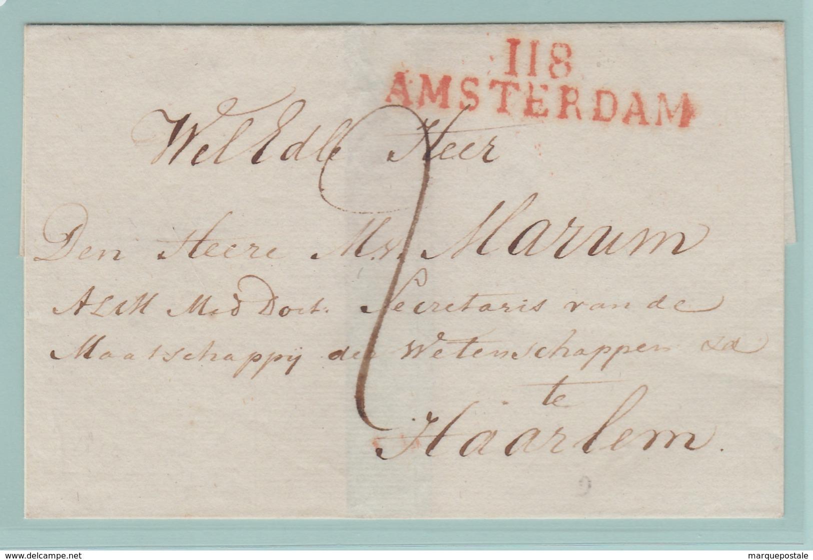 Dép3 Départements Conquis Zuidersee/Zuyderzee 118 Amsterdam 47mm (Sans Dates) Taxe 2d Pour Haarlem - Marcofilie (Brieven)