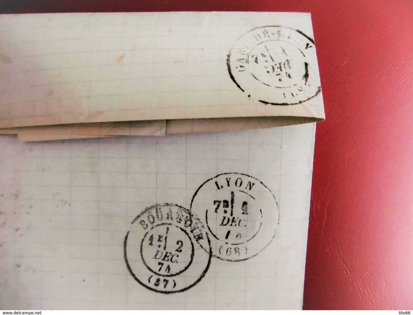 Lettre Avec Cérès N° 60 TAD Convoyeur Station Rive De Gier 1874 - Marcophilie (Lettres)
