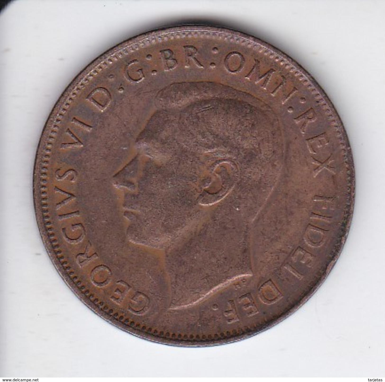 MONEDA DE AUSTRALIA DE 1 PENNY DEL AÑO 1949 CANGURO (KANGAROO) - Moneda Pre-decimale (1910-1965)