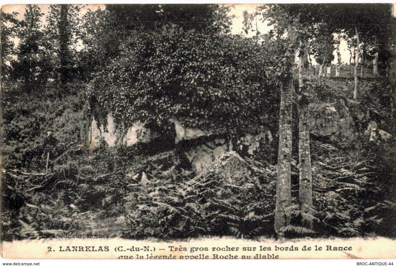 CPA N°3827 - LANRELAS - TRES GROS ROCHER SUR LES BORDS DE LA RANCE QUE LA LEGENDE APPELLE ROCHE AU DIABLE - Frankreich