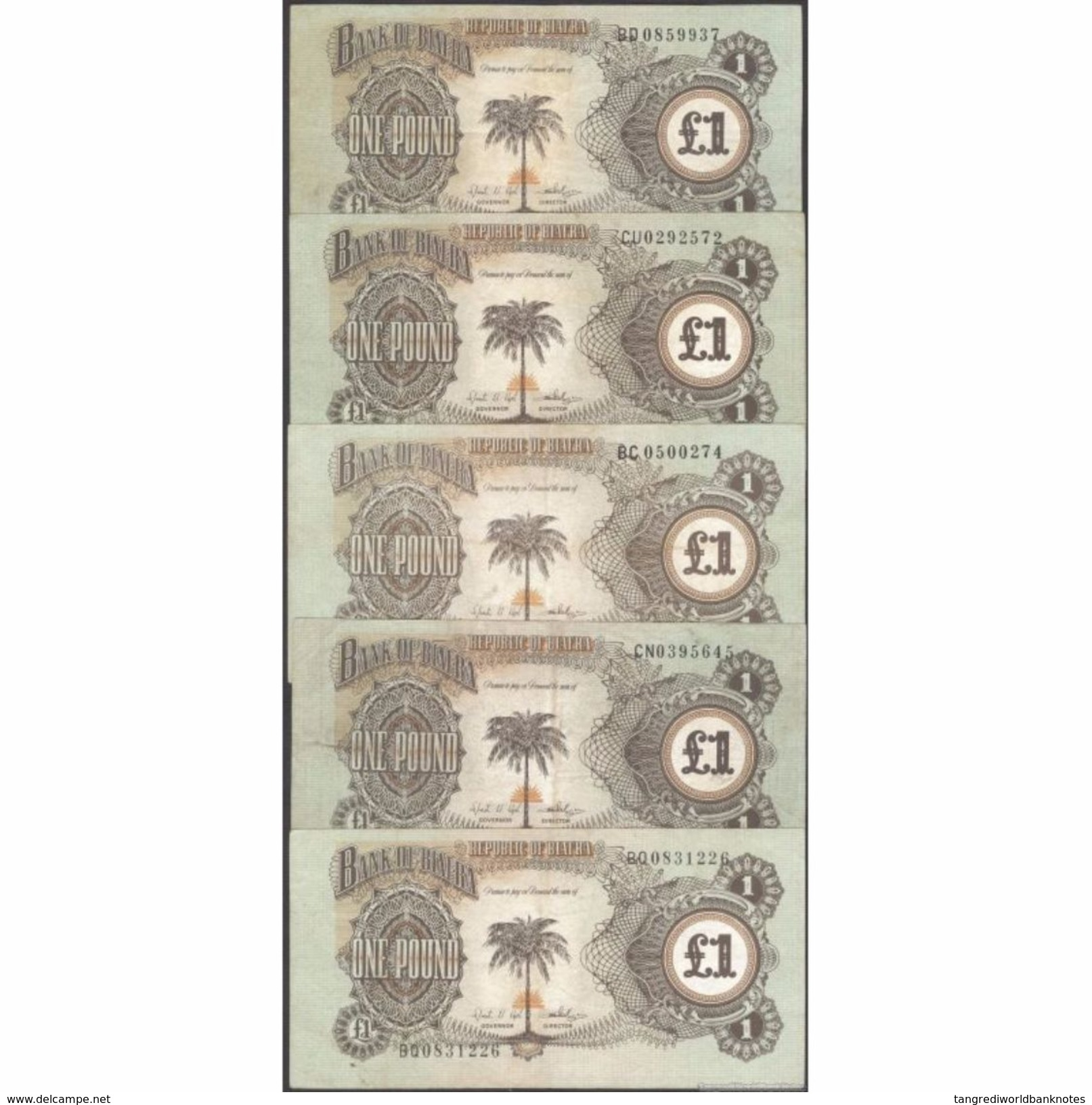 TWN - BIAFRA 5a - 1 Pound 1968-69 DEALERS LOT X 5 - Various Prefixes F/VF - Banconote