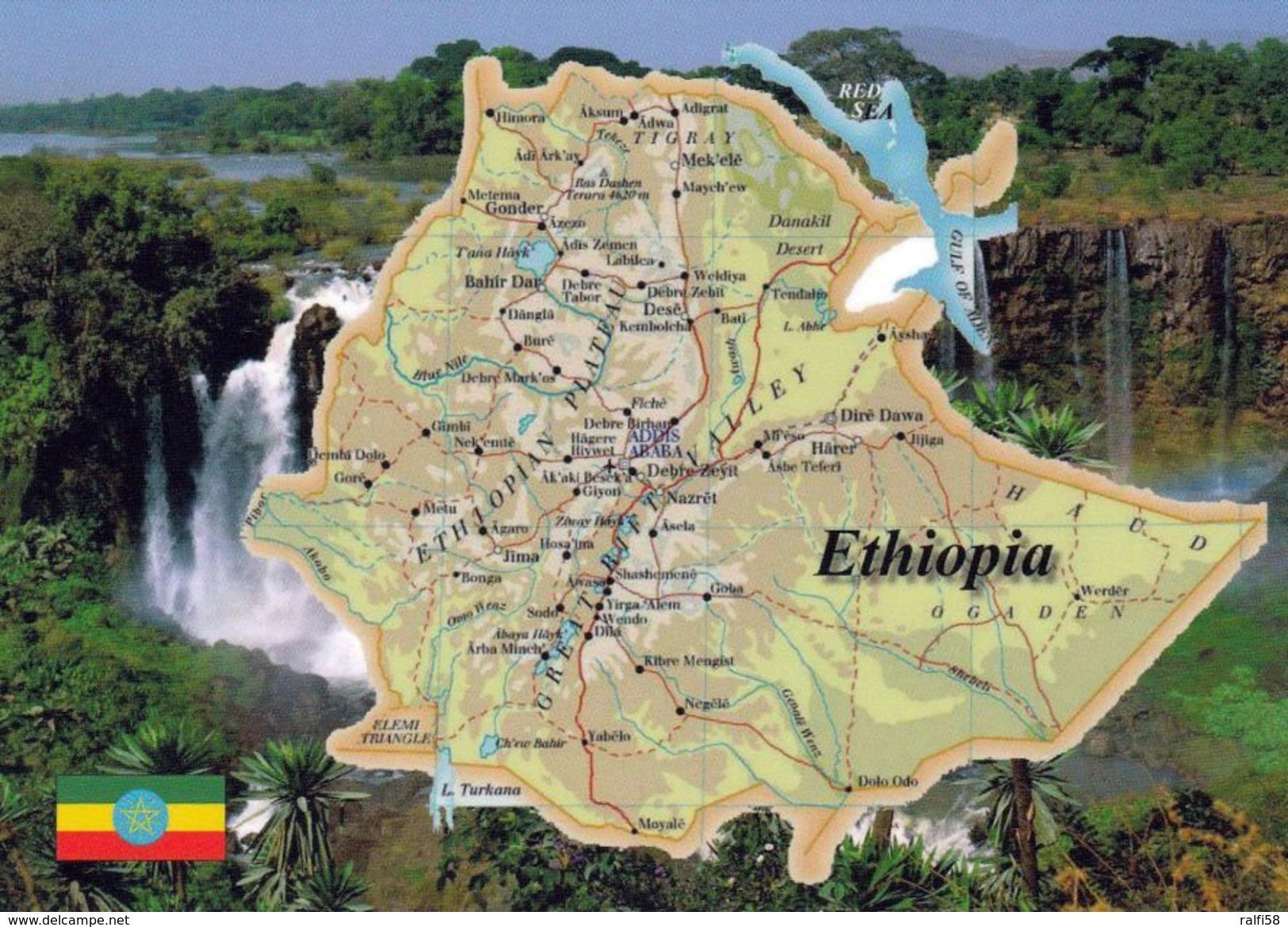 1 MAP Of Ethiopia * 1 Ansichtskarte Mit Der Landkarte Von Äthiopien * - Landkarten