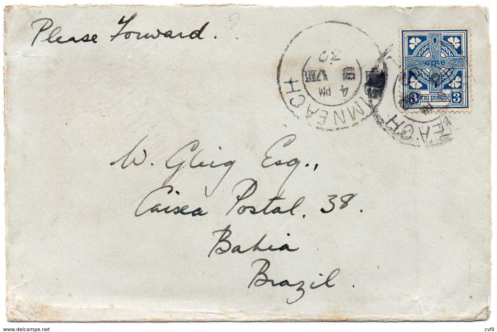 IRELAND 1932. Cover From Luimneach (Limerick) To Bahia, Brazil - Briefe U. Dokumente