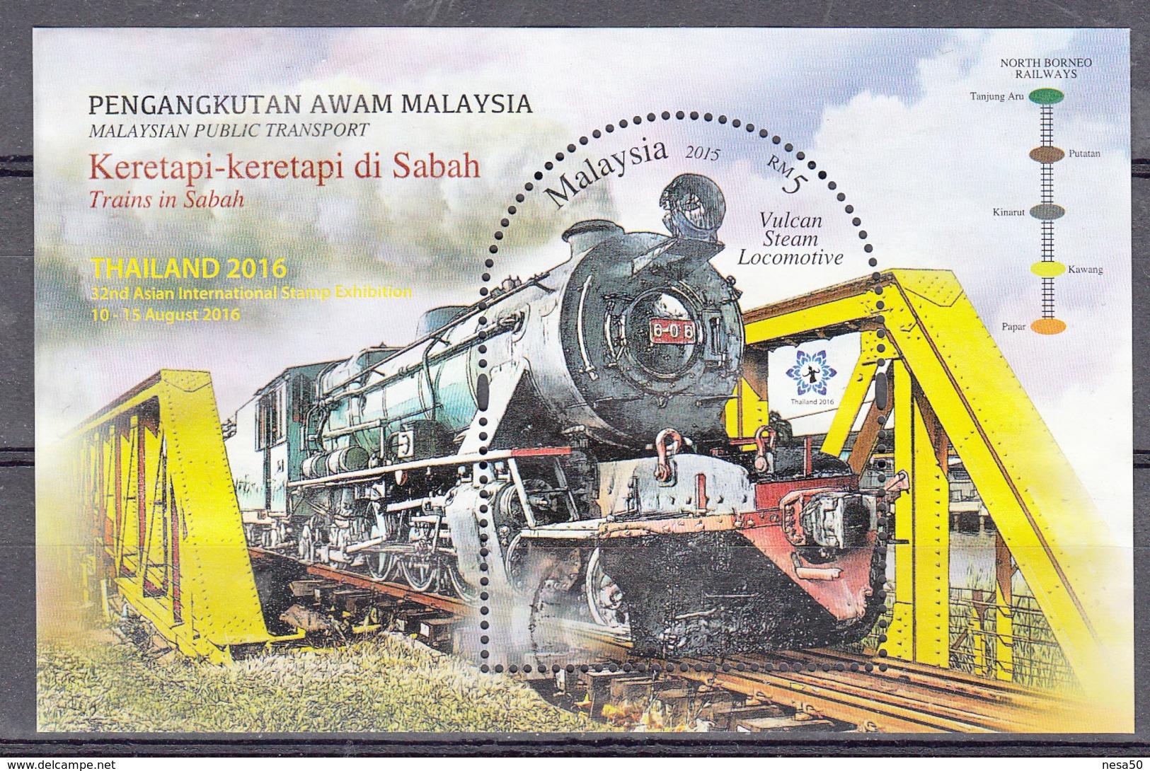 Trein, Trains, Railway, Eisenbahn: Malaysia 2016 Mi Nr Blok 206 , Gestempeld - Treinen