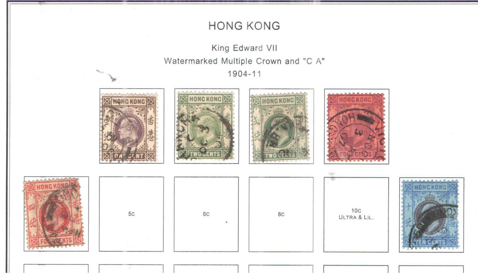 Hong Kong 1904/11 Edward VII° Valore 6 Usato Scott.89/90+95 See Scans - Hong Kong (...-1997)