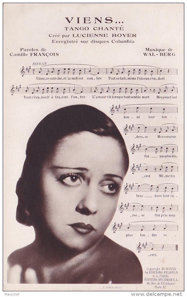 """""""Viens..."""" Tango Chanté - Crée Par Lucienne BOYER, Enregistré Sur Disques Columbia - Chanteuse & Partition - Musique Et Musiciens"""